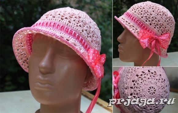 Розовая панамка крючком