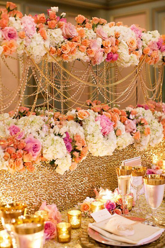 .: Alexander Mcqueen, Coral Pink, Idea, Colors Schemes, Gold Wedding, Head Tables, Wedding Centerpieces, Flower, Gold Parties