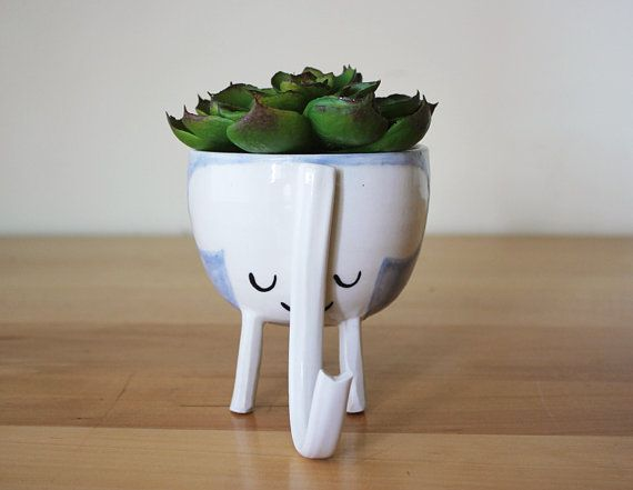 MADE TO ORDER: Three-legged Elephant Planter in Baby by Beardbangs
