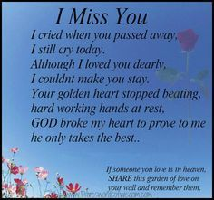 quotes about missing someone in heaven - Google Search