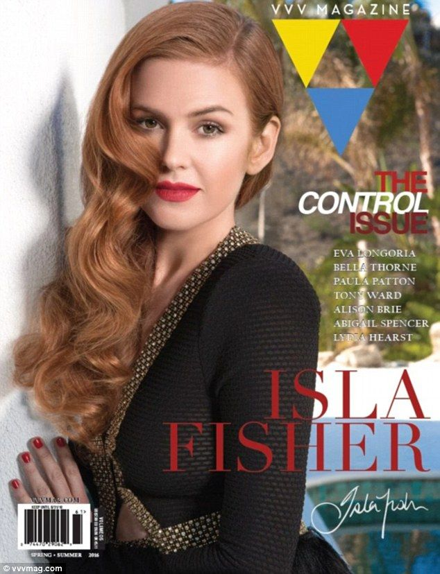 What a beauty:Isla Fisher. 40, completes the lineup, posing in a glitzy black and gold jacket, while rocking glam red lips and matching nails, with her red locks styled into tumbling curls