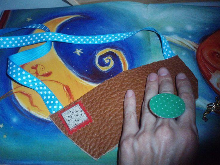 #artepovera #handmade #alternative #pendant #ring #polka dots #wood #leather #cork