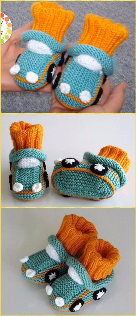Knit Car Baby BootiesFree Pattern Video - Knit Slippers Booties Free Patterns