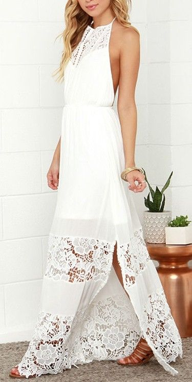 Love the look of this white halter backless crochet lace maxi dress
