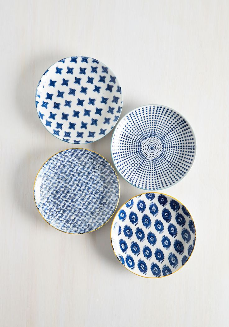 My Fare Lady Plate Set. Serve up a full course of delectable style with this ceramic plate set! #blue #modcloth