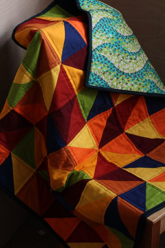 Bright half-square triangle quilt