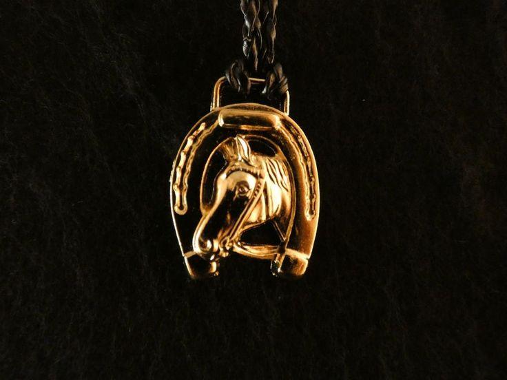 Anhänger 24 Karat Gold Schmuck Lederband Hufeisen Pferd Reiter Glücksbringer