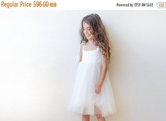 White tie-straps girls dress, White flower girl fancy dress, Ivory flower girl dress