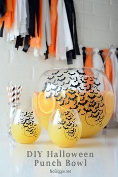 DIY Halloween punch bowl set | Nobiggie.net