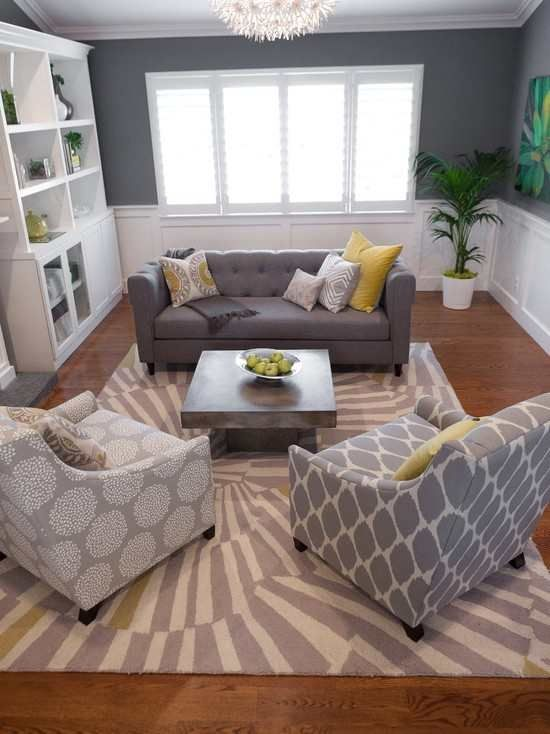 Small living room layout. Love the grey.