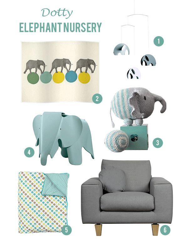 elephant nursery moodboard