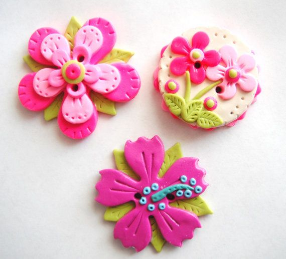 Biggy Button Flowers handmade polymer clay large by digitsdesigns
