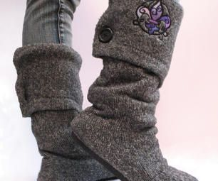 Upcycled Sweater Boots - If I haven't gotten rid of those Crocs yet, this would be an awesome repurpose project to put them back into use!