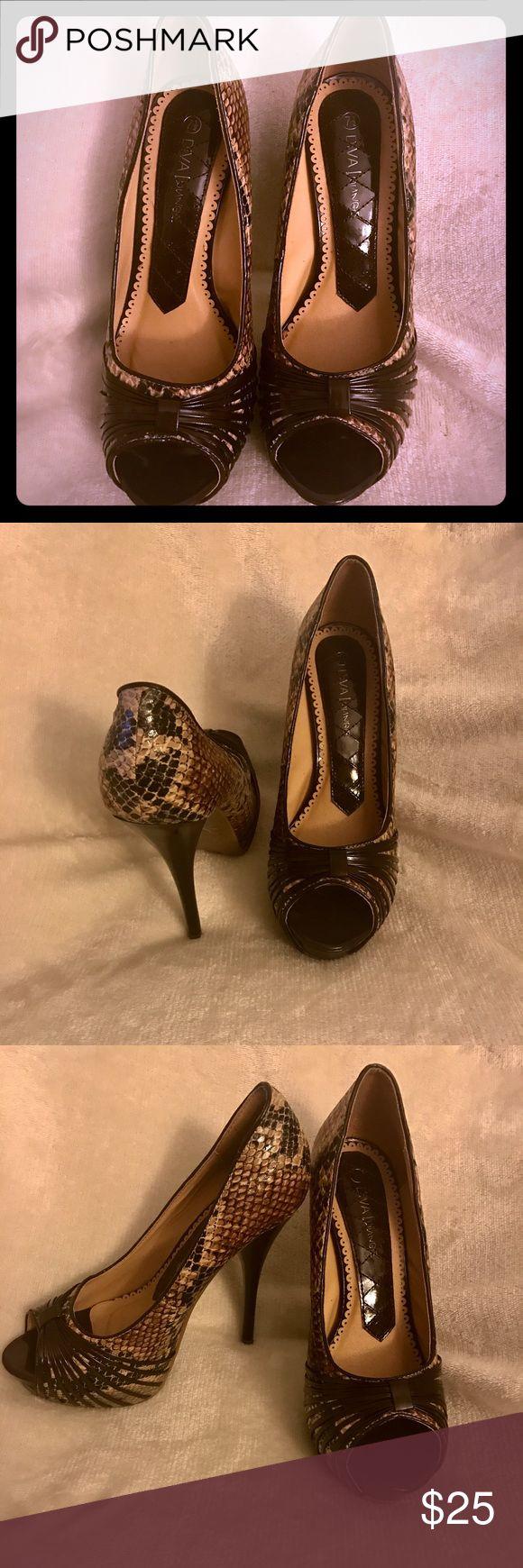 New high heels.7 1/2Brown and beige, snake print. New Diva High heels . Snake print , brown and beige. Shoes Heels
