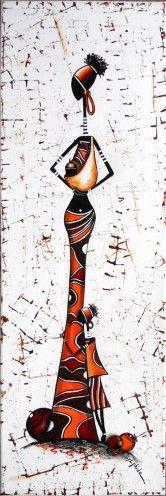 Ptite famille peinte sur une toile 20x60 http://www.alittlemarket.com/peinture/rastamama_poule-1152660.html