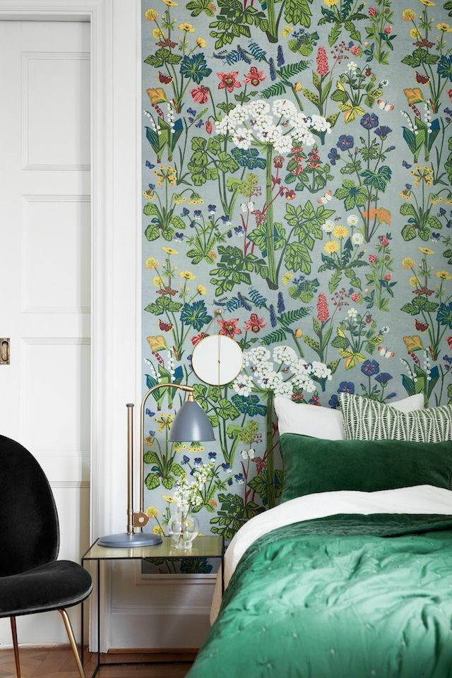 find this pin and more on bedroom design ideas green interior inspiration patterned floral wallpaper - Floral Wallpaper Bedroom Ideas