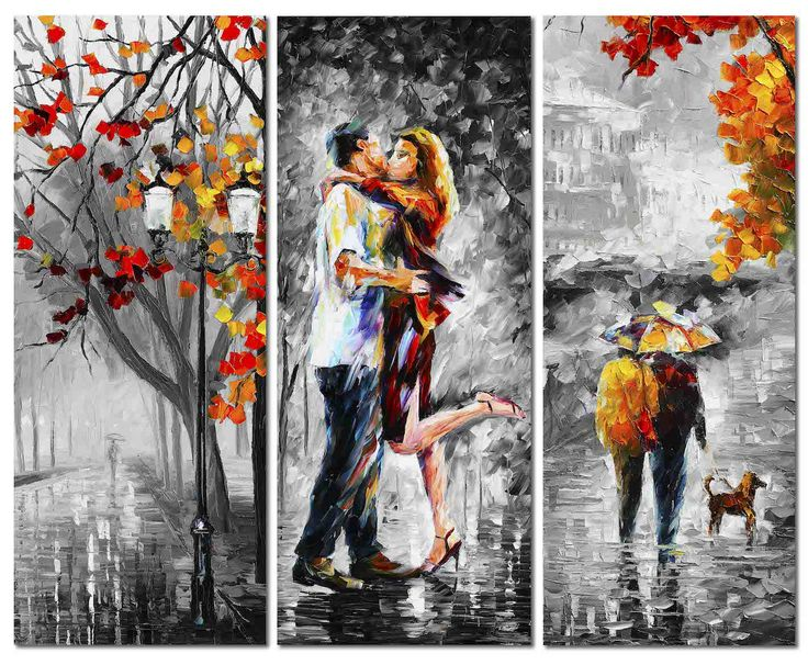 Leonid Afremov -  THE EMOTION OF LOVE - SET OF 3 - Arts, arts in our life
