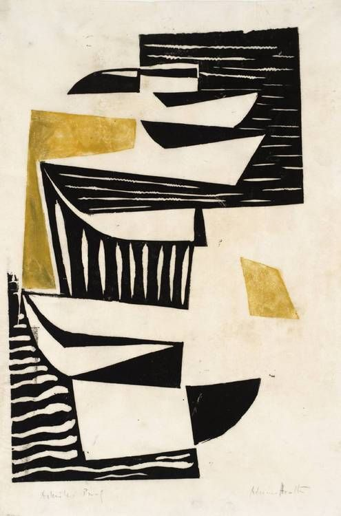 'Composition - Black and Yellow' (1952) by British abstract painter Adrian Heath (1920-1992). Linocut on paper, 350 x 247 mm