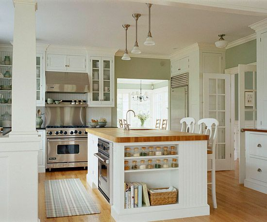 This open kitchen embodies cottage style. More kitchen island designs: http://www.bhg.com/kitchen/island/kitchen-island-designs-we-love/?socsrc=bhgpin122813cottagestyle&page=16