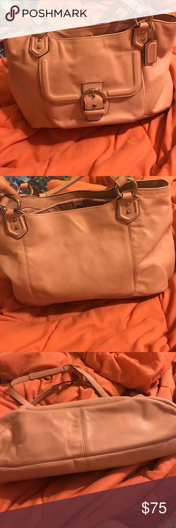 Peach coach pocketbook Has a few spots on inside but not bad. Coach Bags Shoulder Bags