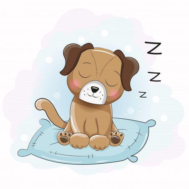 Cute Cartoon Sleeping Puppy On The Pillow Sleeping Puppies Cute Cartoon Drawings Puppy Cartoon