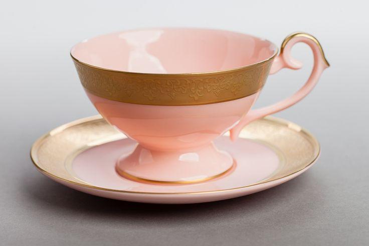 Filiżanka Prometeusz do herbaty złota (różowa... - Porcelana Ćmielów