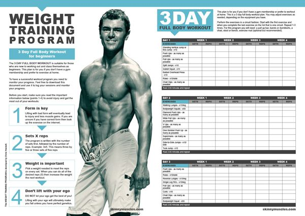 Home Workout Plan For Skinny Guys Plans Ideas Picture