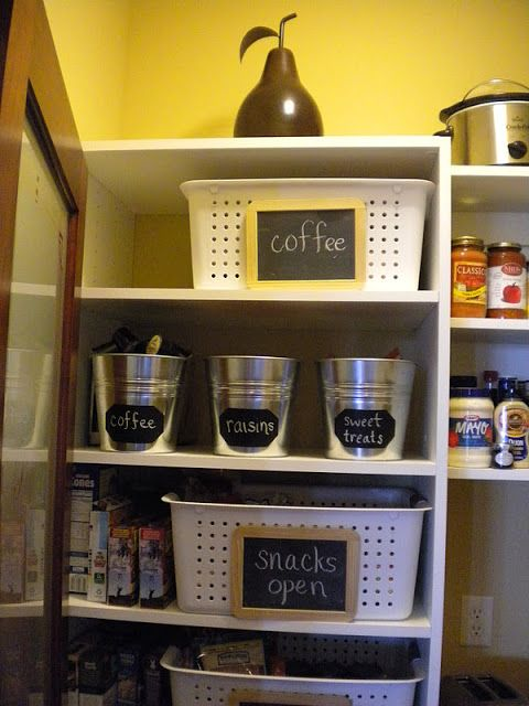 Pantry organization ideas. I like that these containers are very inexpensive.