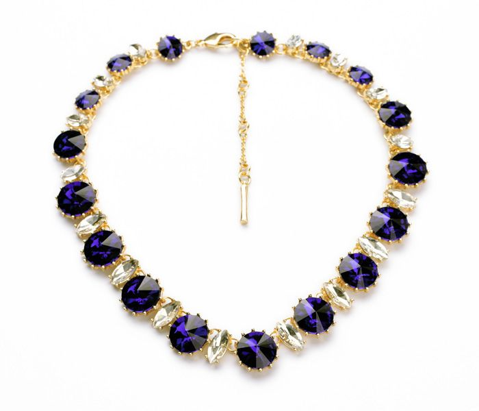N00950 New Arrival 18 Light Gold Plated 2014 Women Short Choker Imitated Diamond Choker Amethyst Necklace