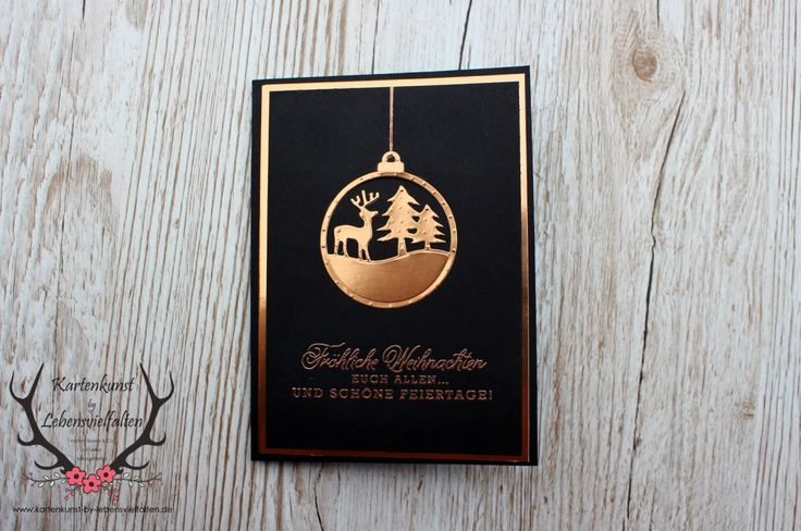 Christmas-card-best-wishes-in-black-and-copper Merry Tags Framelits, Greetings from Santa Stampin' Up!