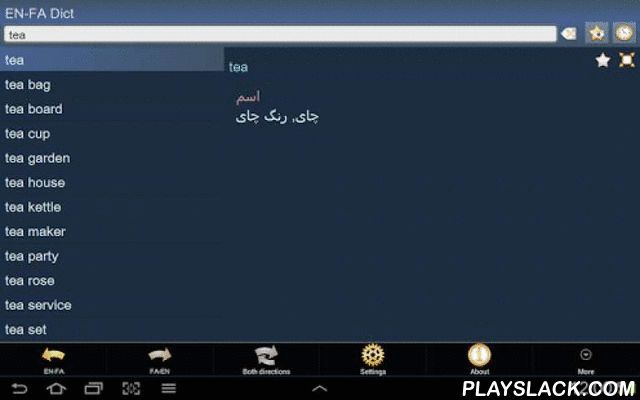 English Persian Dictionary  Android App - playslack.com , This is English - Persian (Farsi) and Persian (Farsi) - English dictionary; انگلیسی - فارسی و فارسی - انگلیسی دیکشنر. The Application works OFFLINE and does not need the internet connection.Database will be downloaded when the application is run first time. We recommend you to use Wi-Fi connection. Main features:1. History – every article you've ever viewed is stored in history.2. Favorites – you are able to add articles to favorites…