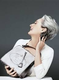 Image result for Meryl Steep rocked gray locks as the fashionable Miranda Priestly