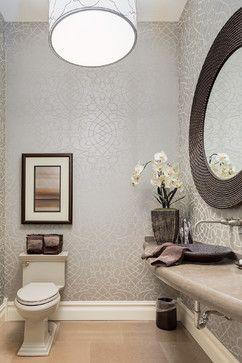 Estate Home Renovation - mediterranean - Bathroom - Calgary - Kon-strux Developments  Patterned Wallpaper