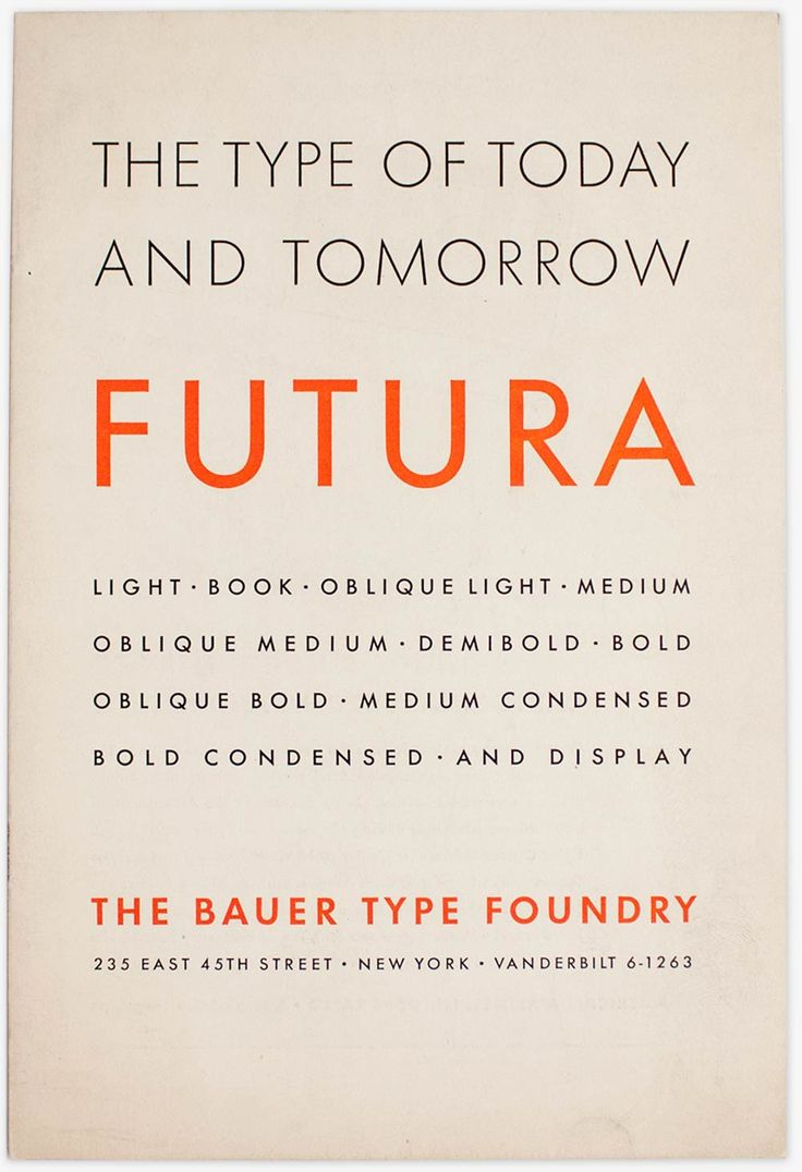 Specimen of Futura issued by the New York City sales office of the Bauer type foundry