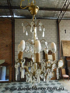 French antique or Vintage cut crystal with bronze frame chandelier- Directly imported from France