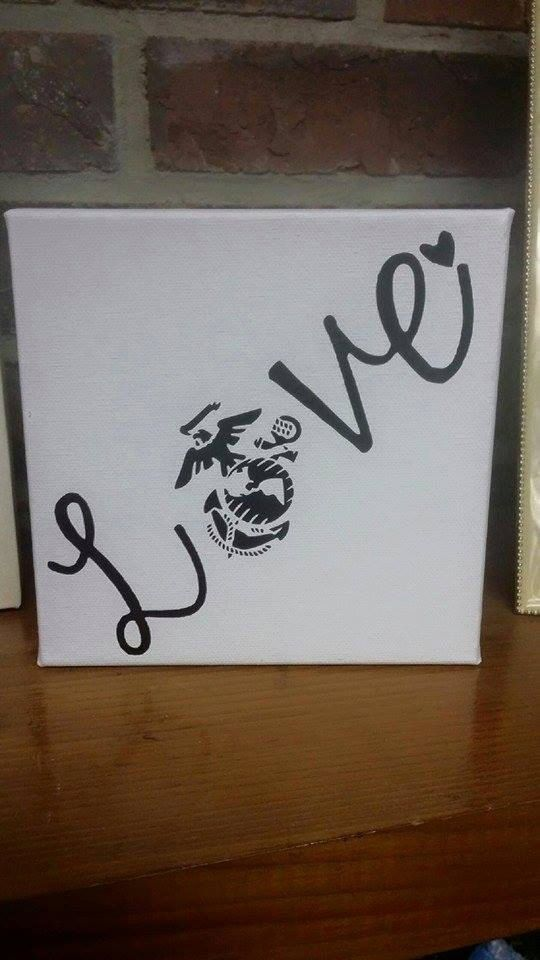 Personalizable 6x6 USMC love canvas art by ShelleyBelleCreation