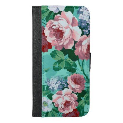 Colorful Roses & Flowers iPhone 6/6s Plus Wallet Case - pattern sample design template diy cyo customize