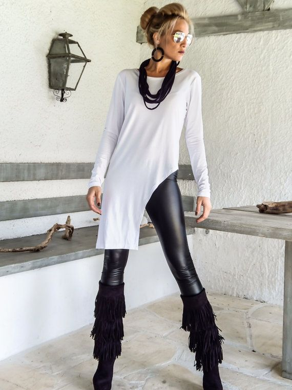 White Asymmetric Top / Long Sleeve Top / Plus Size Top /Winter Top / White Blouse / White Top / Asymmetric / Blouse with sleeves / #35129