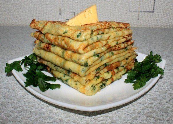 Кулинарный блог!Лучшие рецепты.: Cырные блинчики с петрушкой
