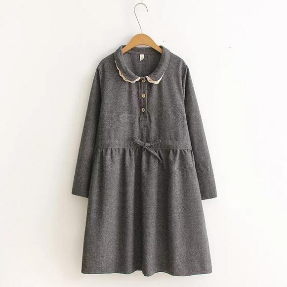 Старинные плед шнуровка питер пэн воротник шерсти толщиной осень зима с длинным рукавом шнурок платье