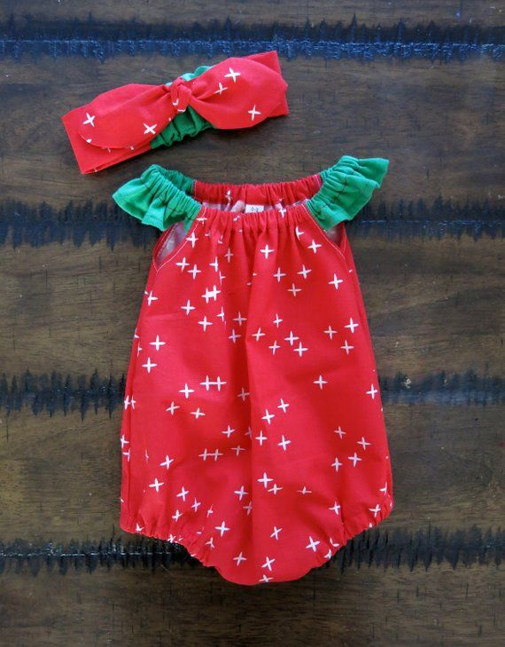 Christmas romper / Organic baby clothes / Baby girl Christmas