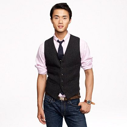 Charcoal herringbone vest