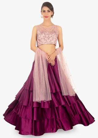 2555925bdb Powder pink sequins embroidered net lehenga with grey georgette blouse and  organza ruffled dupatta only on Kalki
