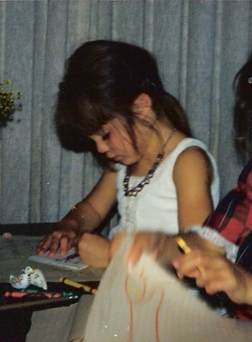 drawing in my fancy slip and princess jewels at 4yrs old