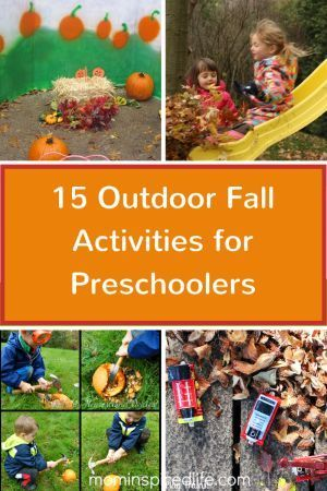 15 Outdoor Fall Activities for Preschoolers! Lots of play-based learning activities to do during the fall. Sensory learning, gross motor skills, science, and more!