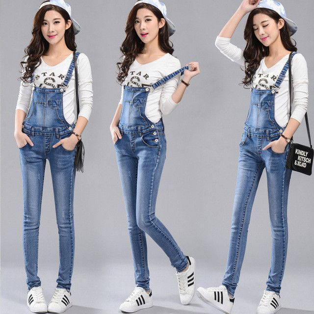 Quality Rompers Denim Overalls Women Combinaison Femme High Waist Elegant Adjustable Strap Jumpsuit Jeans Pants Women's Trousers
