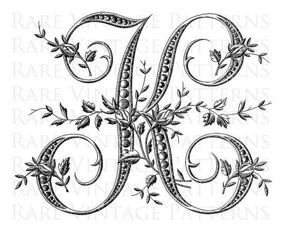 French alphabet stencil large letter k by for Large monogram letter stencil