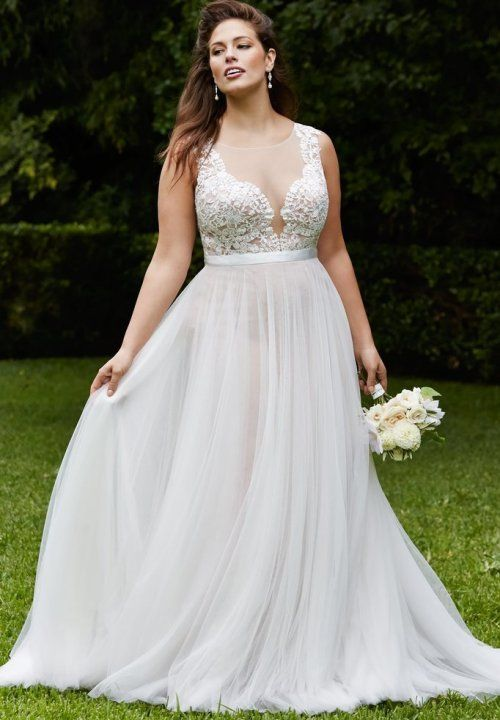 Prettiest 8 Plus Size Summer Wedding Dresses: Beautiful long white flowy plus size summer wedding dress with see through lace top