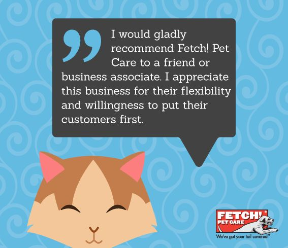 Another great Fetch! Pet Care experience from a satisfied pet parent! Find loving & professional care near you at FetchPetCare.com (or click on the link in our bio). #FetchPetCare #dogsofpinterest #catsofpinterest #testimonial