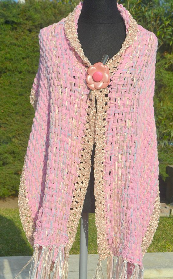Stole/Handwoven Shawl /hand woven  Wrap / hand knit pink/ hand